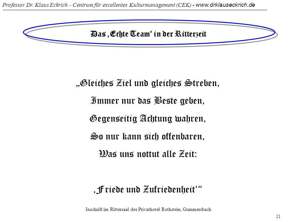 Professor Dr. Klaus Eckrich - Centrum für excellentes Kulturmanagement (CEK) - www.drklauseckrich.de 11 Das Echte Team in der Ritterzeit Gleiches Ziel