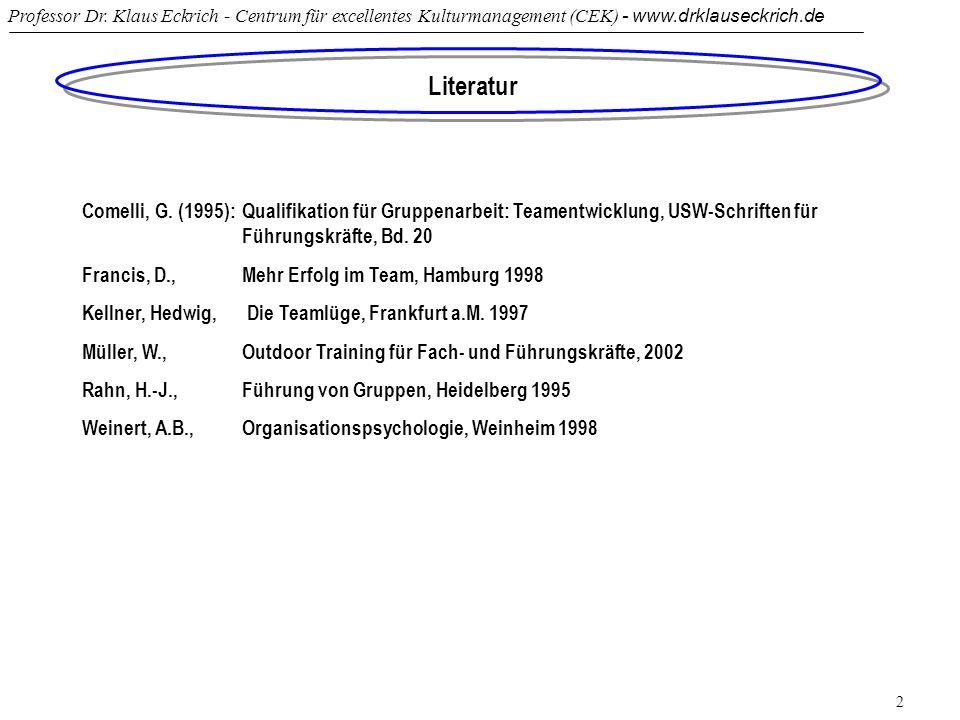 Professor Dr. Klaus Eckrich - Centrum für excellentes Kulturmanagement (CEK) - www.drklauseckrich.de 2 Literatur Comelli, G. (1995): Qualifikation für