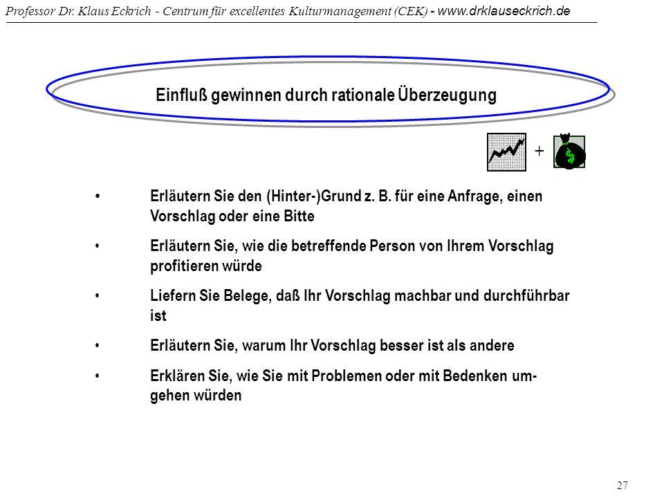Professor Dr. Klaus Eckrich - Centrum für excellentes Kulturmanagement (CEK) - www.drklauseckrich.de 27 Einfluß gewinnen durch rationale Überzeugung E