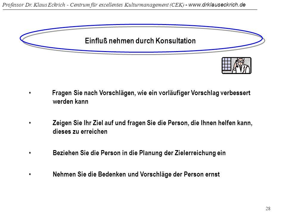 Professor Dr. Klaus Eckrich - Centrum für excellentes Kulturmanagement (CEK) - www.drklauseckrich.de 28 Einfluß nehmen durch Konsultation Fragen Sie n