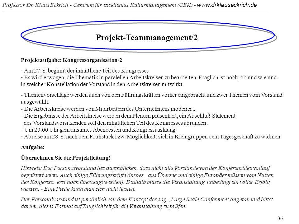 Professor Dr. Klaus Eckrich - Centrum für excellentes Kulturmanagement (CEK) - www.drklauseckrich.de 36 Projekt-Teammanagement/2 Projektaufgabe: Kongr