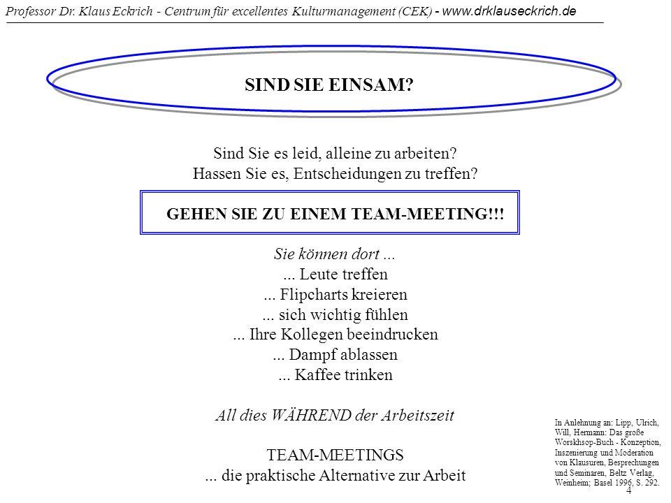 Professor Dr. Klaus Eckrich - Centrum für excellentes Kulturmanagement (CEK) - www.drklauseckrich.de 4 SIND SIE EINSAM? Sind Sie es leid, alleine zu a
