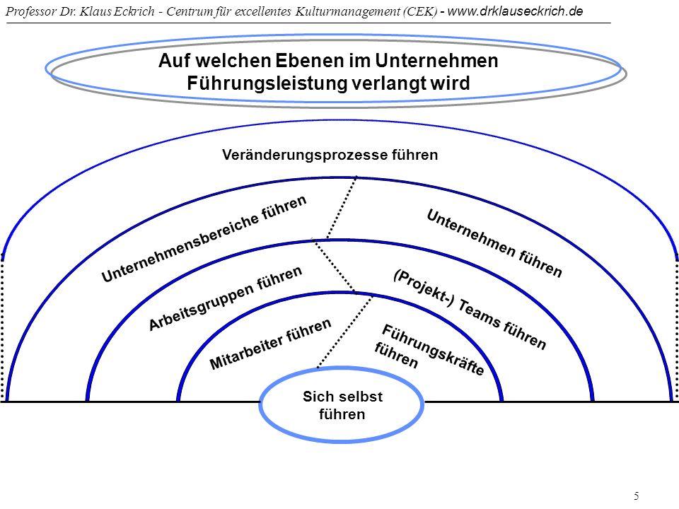 Professor Dr. Klaus Eckrich - Centrum für excellentes Kulturmanagement (CEK) - www.drklauseckrich.de 5 Auf welchen Ebenen im Unternehmen Führungsleist