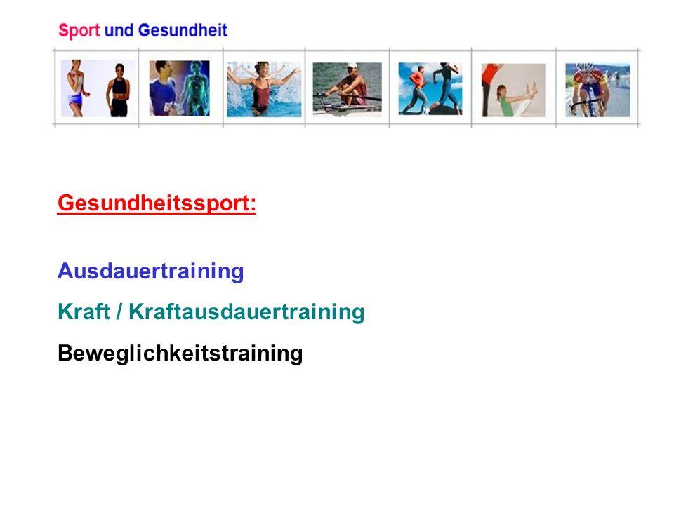 Gesundheitssport: Ausdauertraining Kraft / Kraftausdauertraining Beweglichkeitstraining