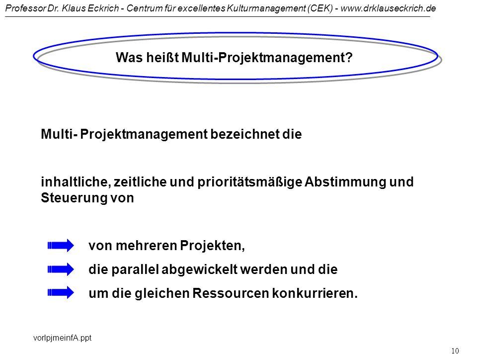 Professor Dr. Klaus Eckrich - Centrum für excellentes Kulturmanagement (CEK) - www.drklauseckrich.de vorlpjmeinfA.ppt 9 Was heißt Projektmanagement? D