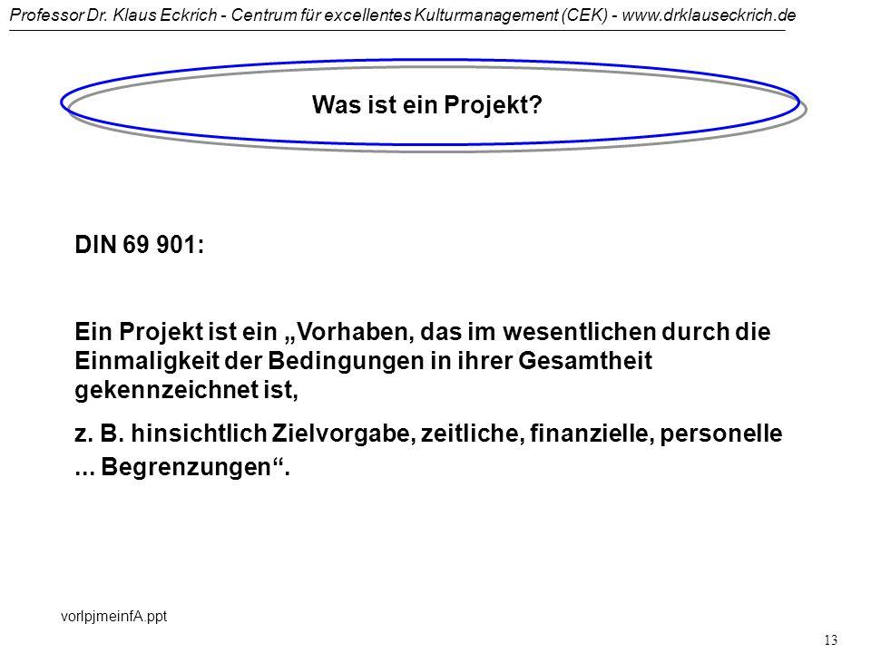 Professor Dr. Klaus Eckrich - Centrum für excellentes Kulturmanagement (CEK) - www.drklauseckrich.de vorlpjmeinfA.ppt 12 Risiken des PJM Two Boss Synd