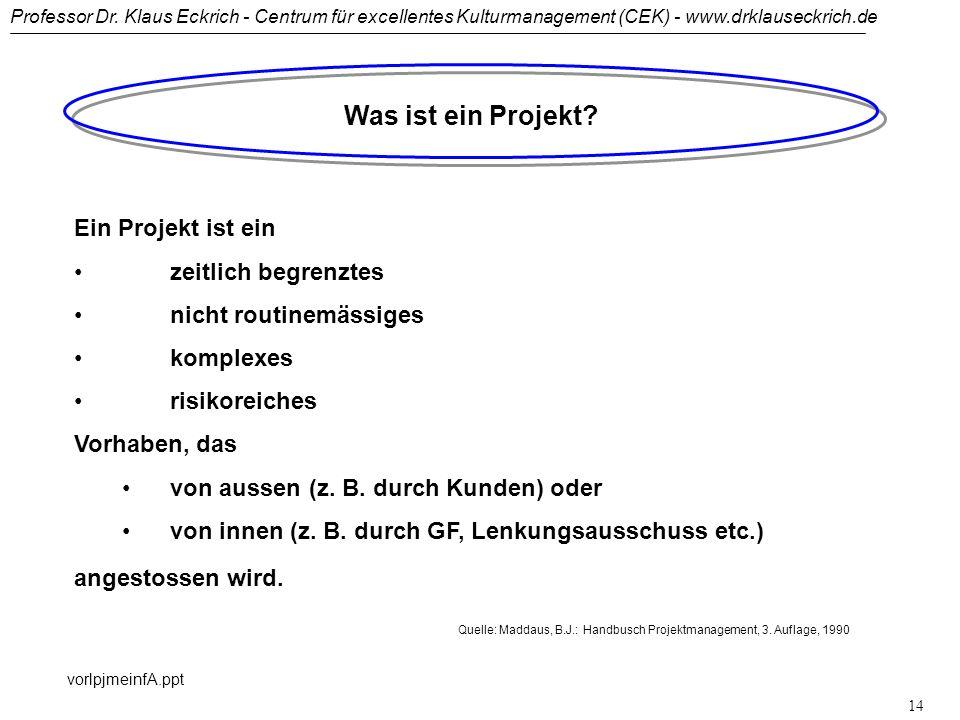 Professor Dr. Klaus Eckrich - Centrum für excellentes Kulturmanagement (CEK) - www.drklauseckrich.de vorlpjmeinfA.ppt 13 Was ist ein Projekt? DIN 69 9
