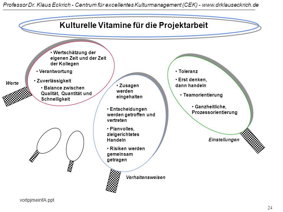 Professor Dr. Klaus Eckrich - Centrum für excellentes Kulturmanagement (CEK) - www.drklauseckrich.de vorlpjmeinfA.ppt 23 Lernende Organisation - konse