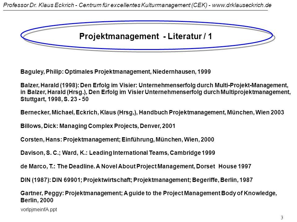 Professor Dr. Klaus Eckrich - Centrum für excellentes Kulturmanagement (CEK) - www.drklauseckrich.de vorlpjmeinfA.ppt 2 PROJEKTMANAGEMENT (PJM): Organ