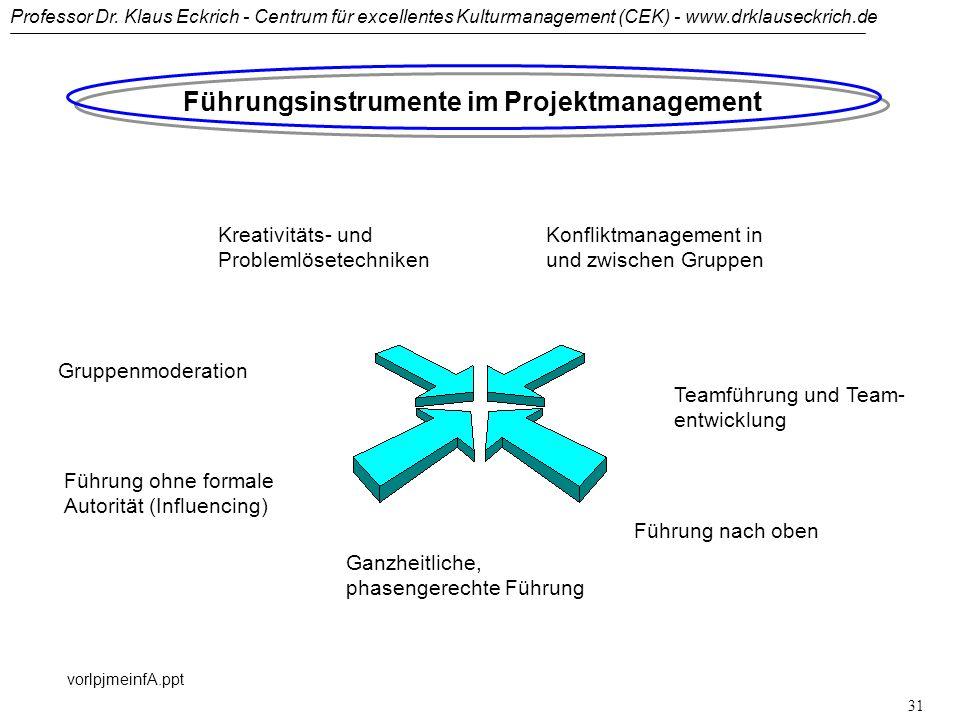 Professor Dr. Klaus Eckrich - Centrum für excellentes Kulturmanagement (CEK) - www.drklauseckrich.de vorlpjmeinfA.ppt 30 Projektleiteranforderungen: D