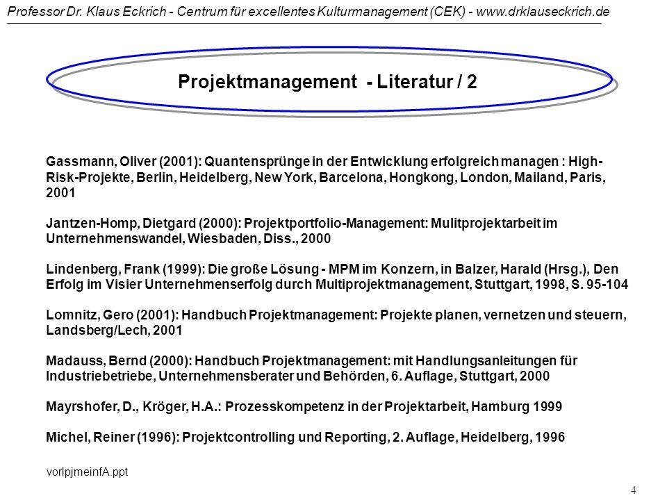 Professor Dr. Klaus Eckrich - Centrum für excellentes Kulturmanagement (CEK) - www.drklauseckrich.de vorlpjmeinfA.ppt 3 Projektmanagement - Literatur