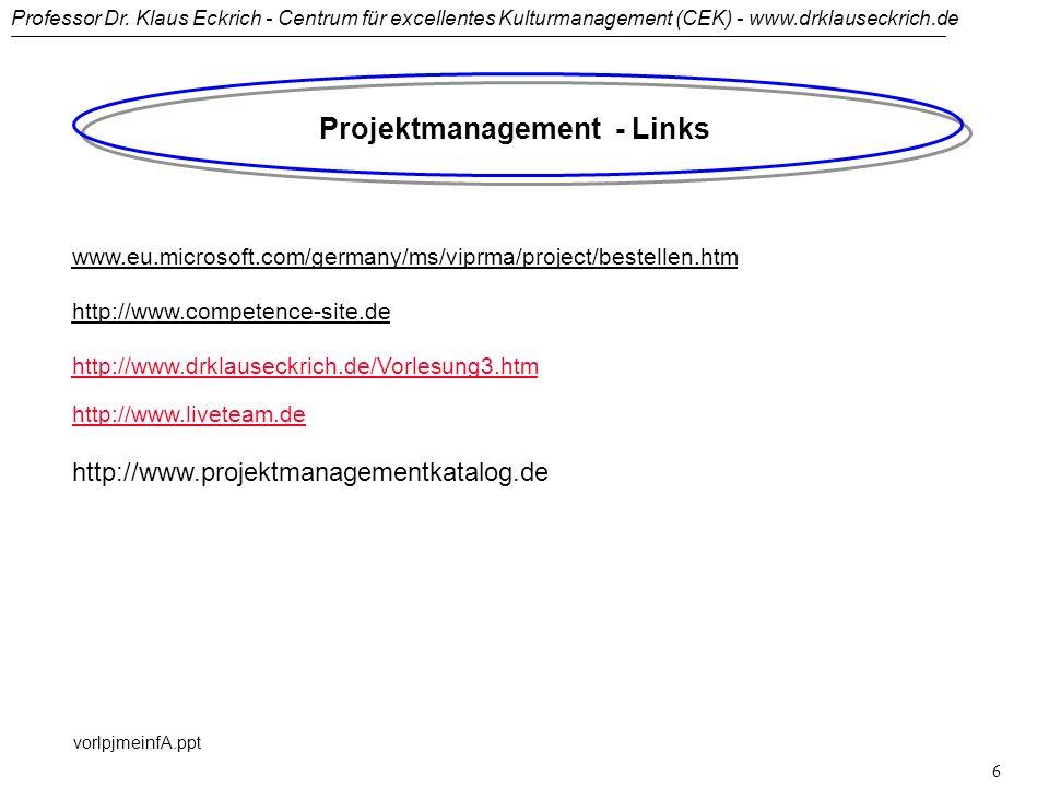 Professor Dr. Klaus Eckrich - Centrum für excellentes Kulturmanagement (CEK) - www.drklauseckrich.de vorlpjmeinfA.ppt 5 Projektmanagement - Literatur