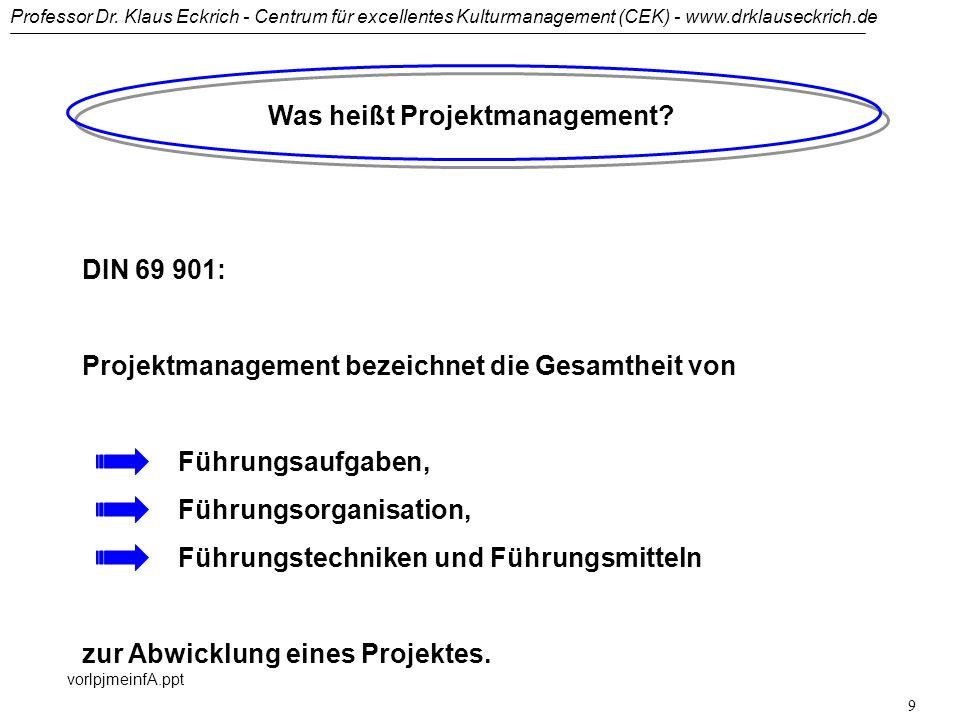 Professor Dr. Klaus Eckrich - Centrum für excellentes Kulturmanagement (CEK) - www.drklauseckrich.de vorlpjmeinfA.ppt 8 Warum Projektmanagement? Manag