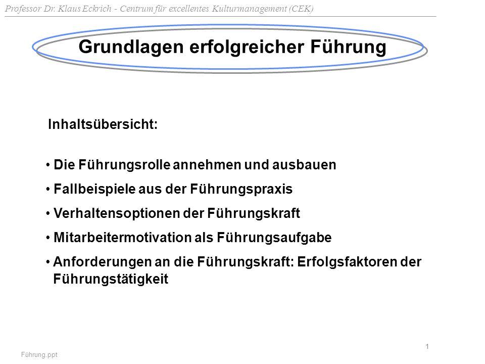Professor Dr. Klaus Eckrich - Centrum für excellentes Kulturmanagement (CEK) Führung.ppt 1 Grundlagen erfolgreicher Führung Inhaltsübersicht: Die Führ