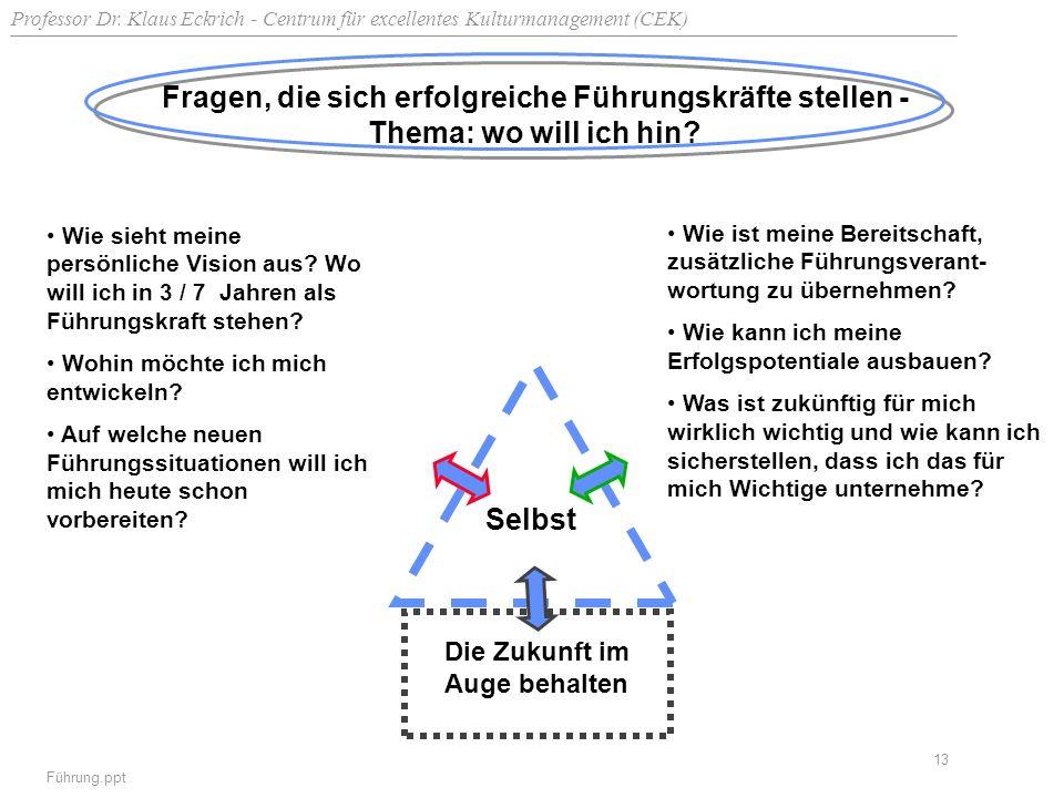 Professor Dr. Klaus Eckrich - Centrum für excellentes Kulturmanagement (CEK) Führung.ppt 13 Fragen, die sich erfolgreiche Führungskräfte stellen - The