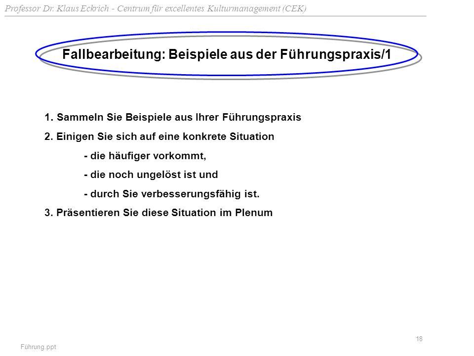 Professor Dr. Klaus Eckrich - Centrum für excellentes Kulturmanagement (CEK) Führung.ppt 18 Fallbearbeitung: Beispiele aus der Führungspraxis/1 1. Sam
