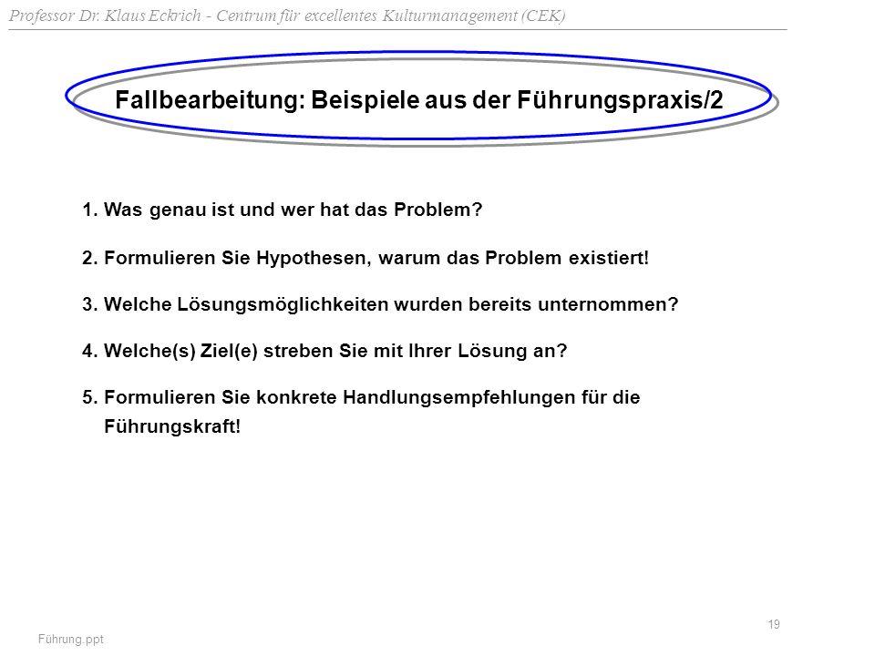 Professor Dr. Klaus Eckrich - Centrum für excellentes Kulturmanagement (CEK) Führung.ppt 19 Fallbearbeitung: Beispiele aus der Führungspraxis/2 1. Was