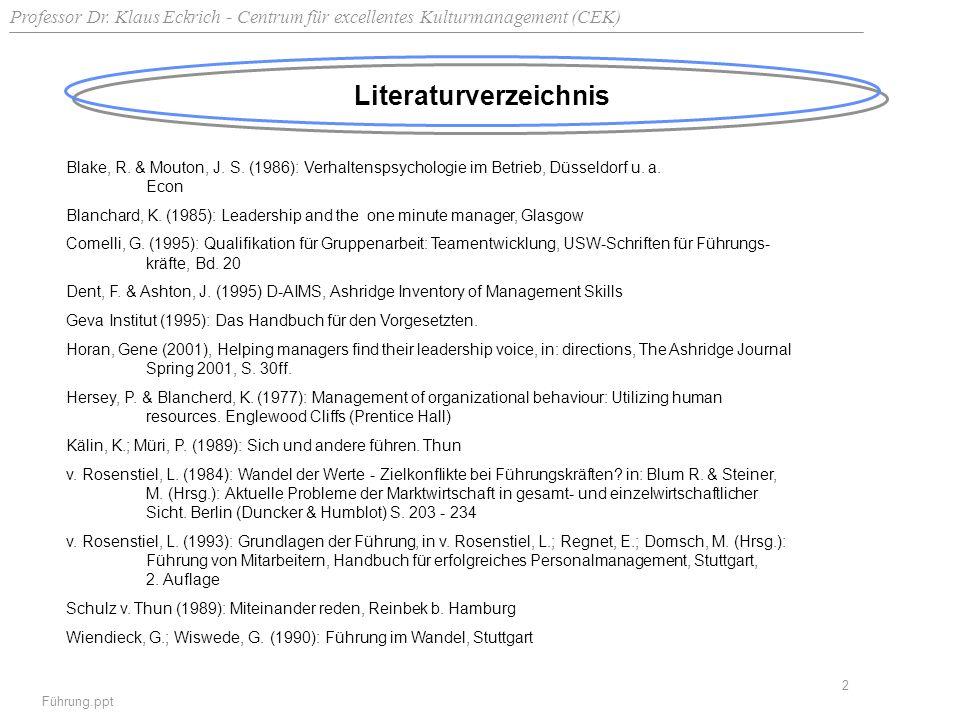 Professor Dr. Klaus Eckrich - Centrum für excellentes Kulturmanagement (CEK) Führung.ppt 2 Literaturverzeichnis Blake, R. & Mouton, J. S. (1986): Verh
