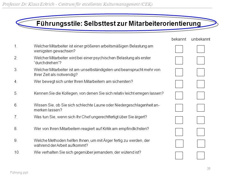 Professor Dr. Klaus Eckrich - Centrum für excellentes Kulturmanagement (CEK) Führung.ppt 38 Führungsstile: Selbsttest zur Mitarbeiterorientierung beka