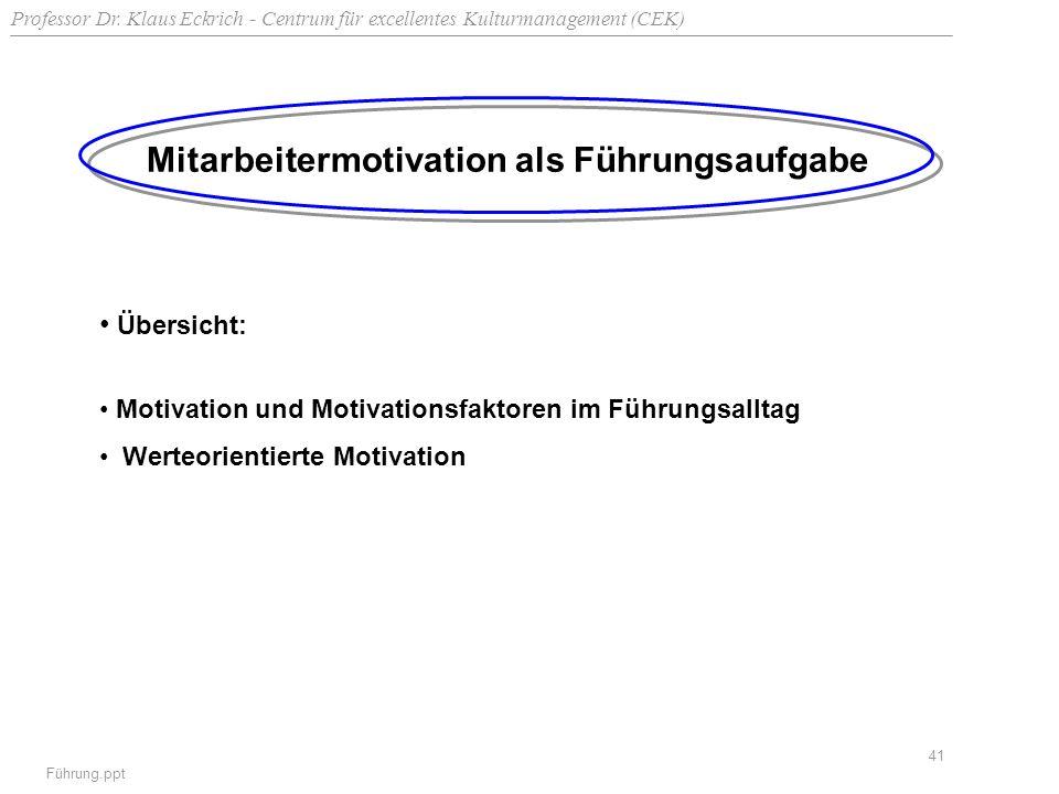 Professor Dr. Klaus Eckrich - Centrum für excellentes Kulturmanagement (CEK) Führung.ppt 41 Mitarbeitermotivation als Führungsaufgabe Übersicht: Motiv