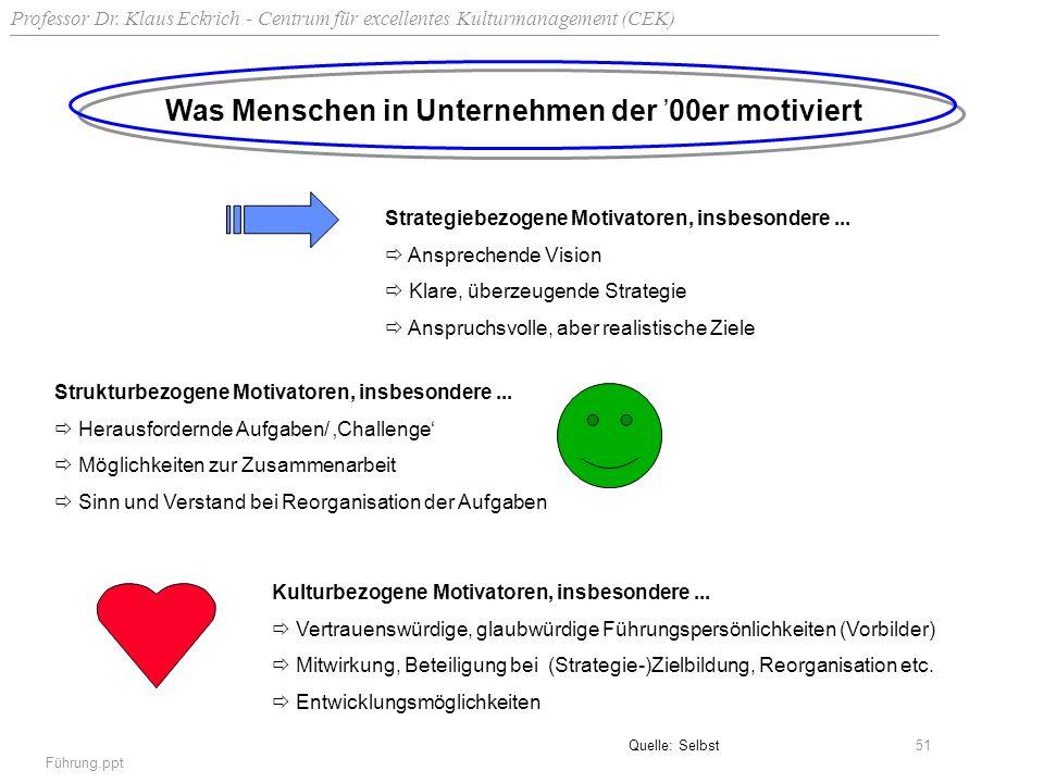 Professor Dr. Klaus Eckrich - Centrum für excellentes Kulturmanagement (CEK) Führung.ppt 51 Was Menschen in Unternehmen der 00er motiviert Strategiebe