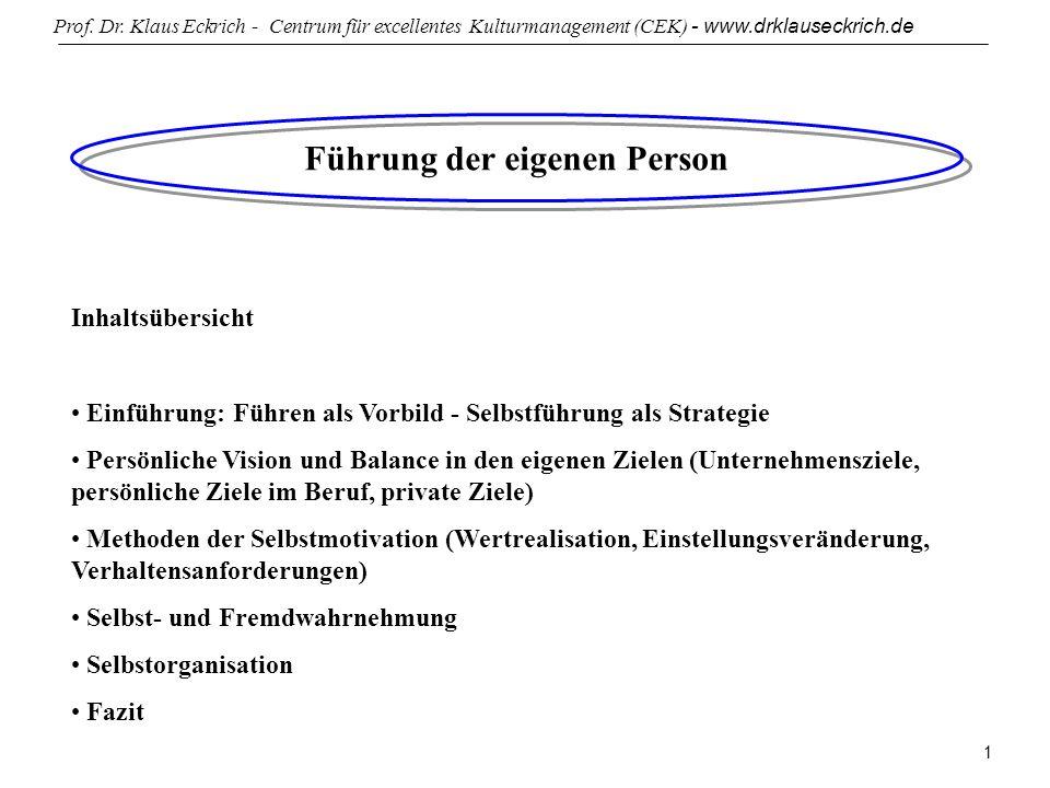 Prof. Dr. Klaus Eckrich - Centrum für excellentes Kulturmanagement (CEK) - www.drklauseckrich.de 1 Führung der eigenen Person Inhaltsübersicht Einführ