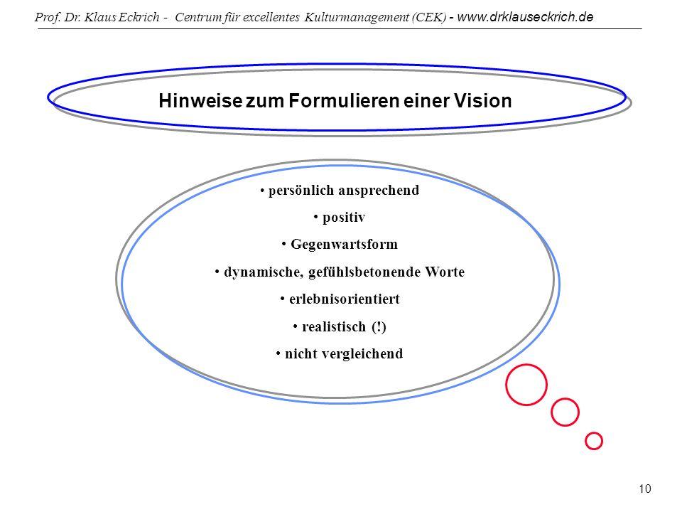 Prof. Dr. Klaus Eckrich - Centrum für excellentes Kulturmanagement (CEK) - www.drklauseckrich.de 10 Hinweise zum Formulieren einer Vision p ersönlich