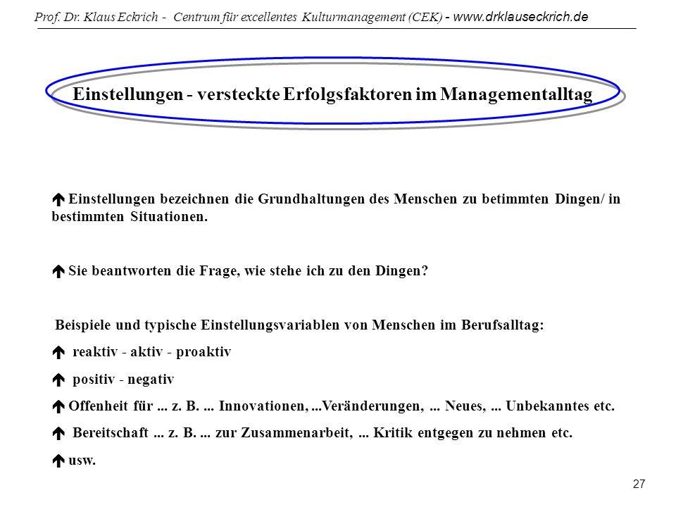 Prof. Dr. Klaus Eckrich - Centrum für excellentes Kulturmanagement (CEK) - www.drklauseckrich.de 27 Einstellungen - versteckte Erfolgsfaktoren im Mana