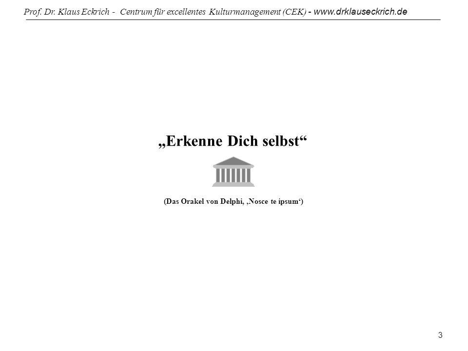 Prof. Dr. Klaus Eckrich - Centrum für excellentes Kulturmanagement (CEK) - www.drklauseckrich.de 3 Erkenne Dich selbst (Das Orakel von Delphi, Nosce t