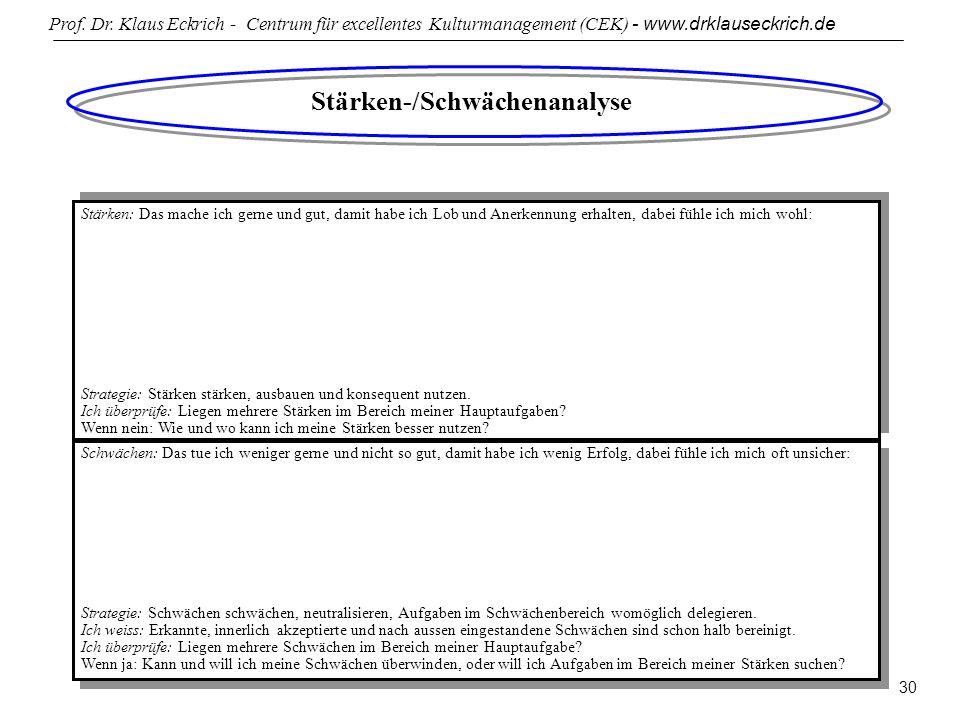 Prof. Dr. Klaus Eckrich - Centrum für excellentes Kulturmanagement (CEK) - www.drklauseckrich.de 30 Stärken-/Schwächenanalyse Stärken: Das mache ich g
