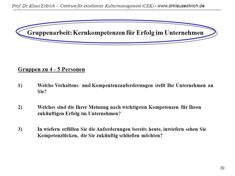 Prof. Dr. Klaus Eckrich - Centrum für excellentes Kulturmanagement (CEK) - www.drklauseckrich.de 39 Gruppenarbeit: Kernkompetenzen für Erfolg im Unter