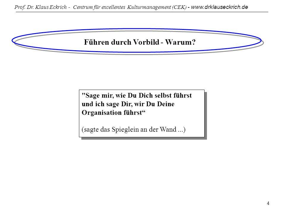 Prof. Dr. Klaus Eckrich - Centrum für excellentes Kulturmanagement (CEK) - www.drklauseckrich.de 4 Führen durch Vorbild - Warum?