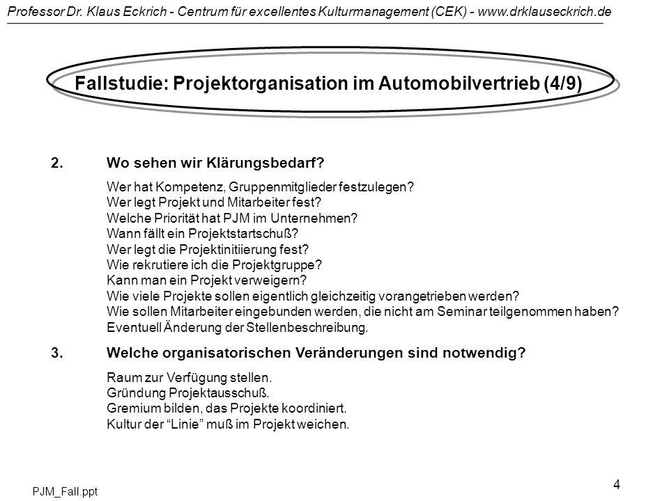 Professor Dr. Klaus Eckrich - Centrum für excellentes Kulturmanagement (CEK) - www.drklauseckrich.de PJM_Fall.ppt 4 Fallstudie: Projektorganisation im