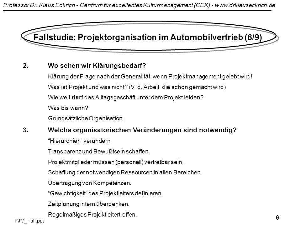 Professor Dr. Klaus Eckrich - Centrum für excellentes Kulturmanagement (CEK) - www.drklauseckrich.de PJM_Fall.ppt 6 Fallstudie: Projektorganisation im