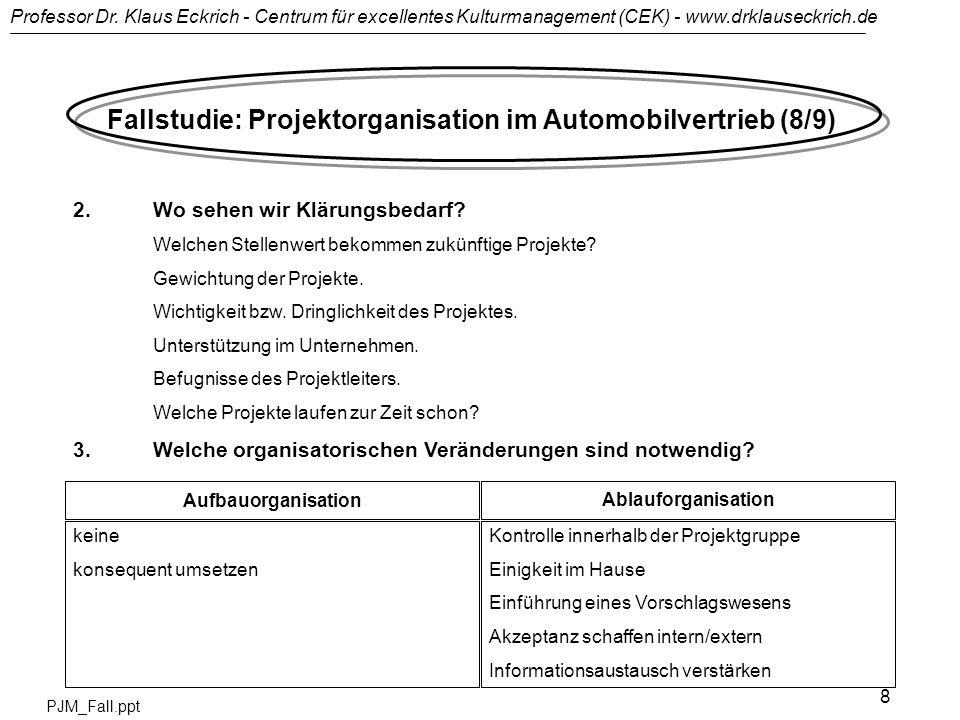 Professor Dr. Klaus Eckrich - Centrum für excellentes Kulturmanagement (CEK) - www.drklauseckrich.de PJM_Fall.ppt 8 Fallstudie: Projektorganisation im