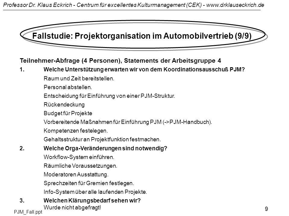 Professor Dr. Klaus Eckrich - Centrum für excellentes Kulturmanagement (CEK) - www.drklauseckrich.de PJM_Fall.ppt 9 Fallstudie: Projektorganisation im