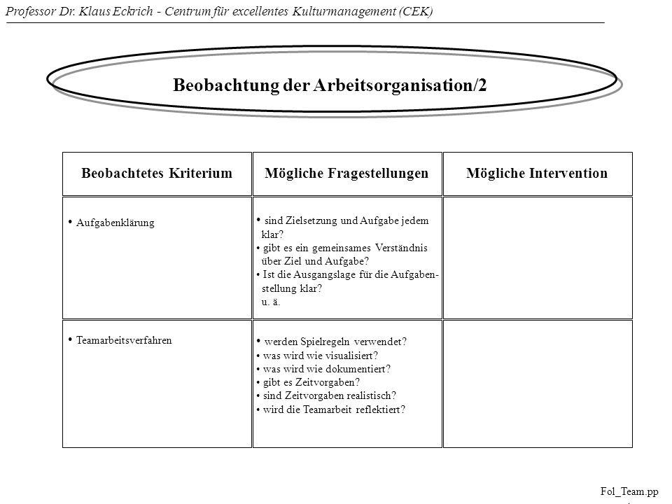 Professor Dr. Klaus Eckrich - Centrum für excellentes Kulturmanagement (CEK) Fol_Team.pp t Beobachtung der Arbeitsorganisation/2 Beobachtetes Kriteriu