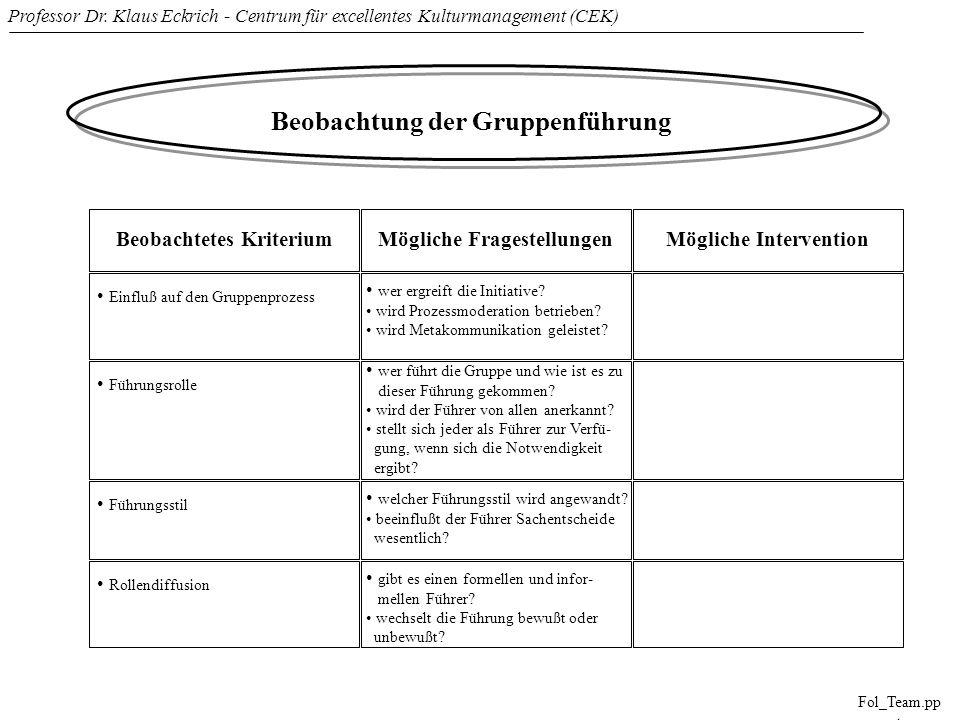 Professor Dr. Klaus Eckrich - Centrum für excellentes Kulturmanagement (CEK) Fol_Team.pp t Beobachtung der Gruppenführung Beobachtetes KriteriumMöglic