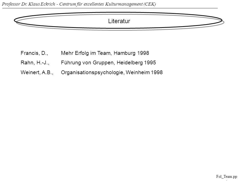 Professor Dr. Klaus Eckrich - Centrum für excellentes Kulturmanagement (CEK) Fol_Team.pp t Literatur Francis, D., Mehr Erfolg im Team, Hamburg 1998 Ra