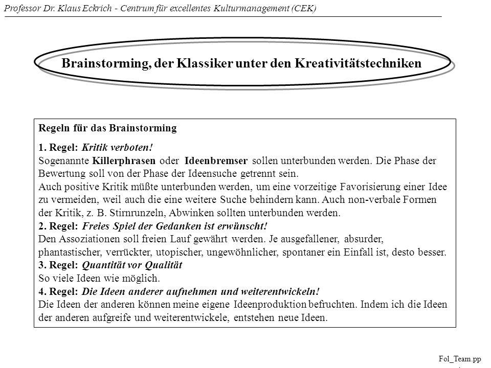 Professor Dr. Klaus Eckrich - Centrum für excellentes Kulturmanagement (CEK) Fol_Team.pp t Brainstorming, der Klassiker unter den Kreativitätstechnike
