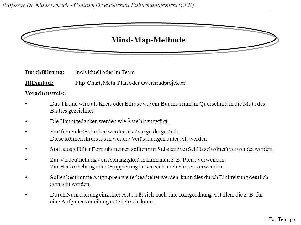 Professor Dr. Klaus Eckrich - Centrum für excellentes Kulturmanagement (CEK) Fol_Team.pp t Mind-Map-Methode Durchführung: individuell oder im Team Hil