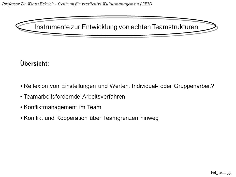Professor Dr. Klaus Eckrich - Centrum für excellentes Kulturmanagement (CEK) Fol_Team.pp t Instrumente zur Entwicklung von echten Teamstrukturen Übers