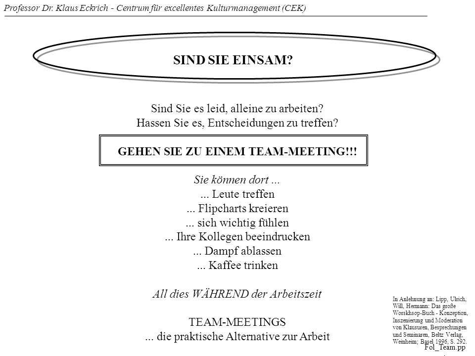 Professor Dr. Klaus Eckrich - Centrum für excellentes Kulturmanagement (CEK) Fol_Team.pp t SIND SIE EINSAM? Sind Sie es leid, alleine zu arbeiten? Has