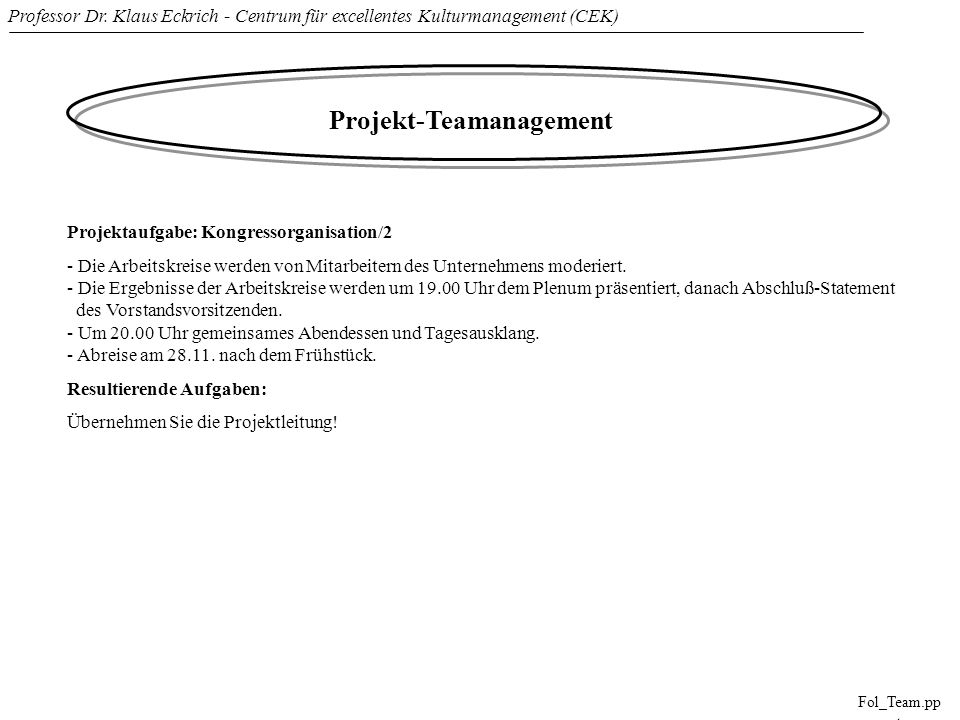 Professor Dr. Klaus Eckrich - Centrum für excellentes Kulturmanagement (CEK) Fol_Team.pp t Projekt-Teamanagement Projektaufgabe: Kongressorganisation/