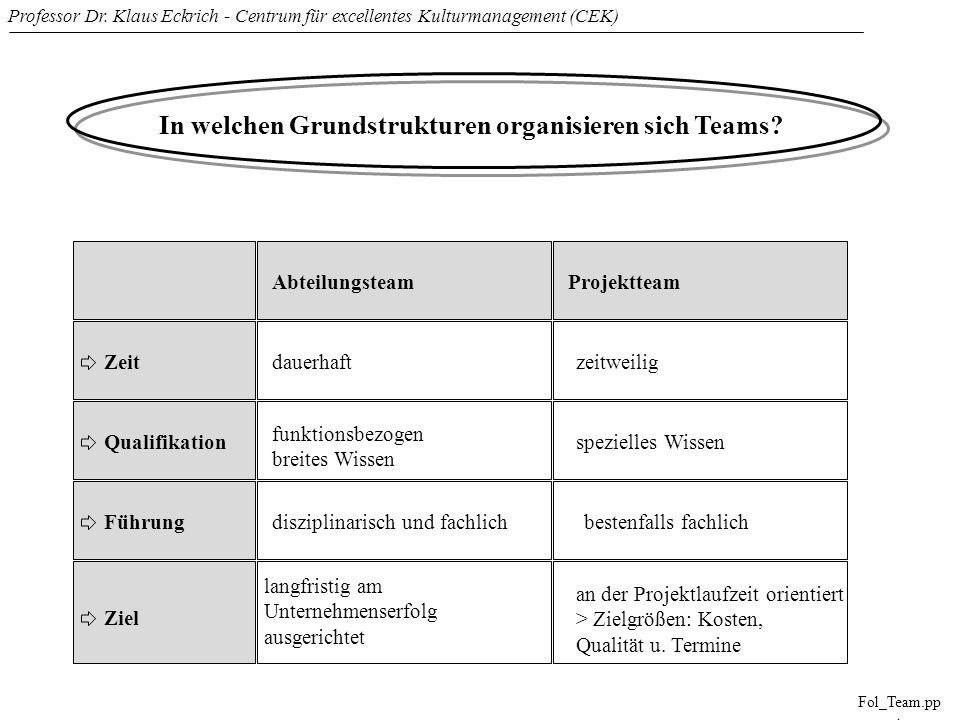 Professor Dr. Klaus Eckrich - Centrum für excellentes Kulturmanagement (CEK) Fol_Team.pp t In welchen Grundstrukturen organisieren sich Teams? Abteilu