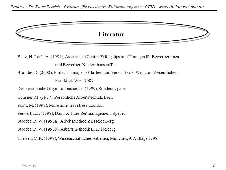 am_vorl.ppt Professor Dr. Klaus Eckrich - Centrum für excellentes Kulturmanagement (CEK) - www.drklauseckrich.de 2 Literatur Beitz, H; Loch, A. (1994)