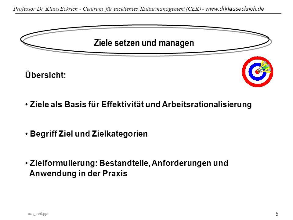 am_vorl.ppt Professor Dr. Klaus Eckrich - Centrum für excellentes Kulturmanagement (CEK) - www.drklauseckrich.de 5 Ziele setzen und managen Übersicht: