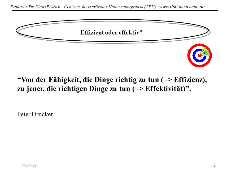 am_vorl.ppt Professor Dr. Klaus Eckrich - Centrum für excellentes Kulturmanagement (CEK) - www.drklauseckrich.de 6 Effizient oder effektiv? Von der Fä