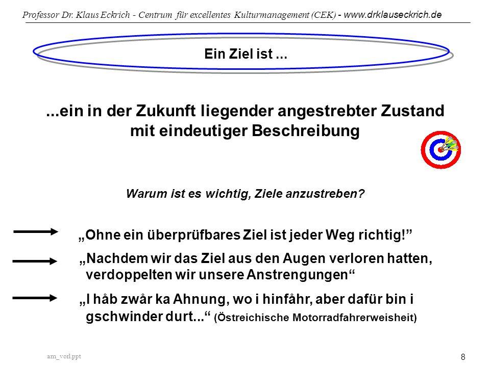 am_vorl.ppt Professor Dr. Klaus Eckrich - Centrum für excellentes Kulturmanagement (CEK) - www.drklauseckrich.de 8 Ein Ziel ist......ein in der Zukunf