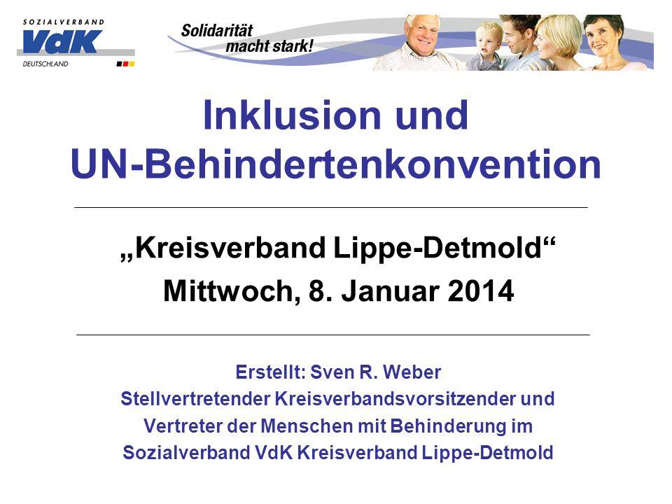 Inklusion und UN-Behindertenkonvention Kreisverband Lippe-Detmold Mittwoch, 8.